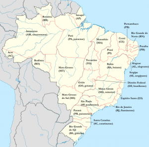 Map of Brazil, showing the state names, abbreviations and relevant toponyms